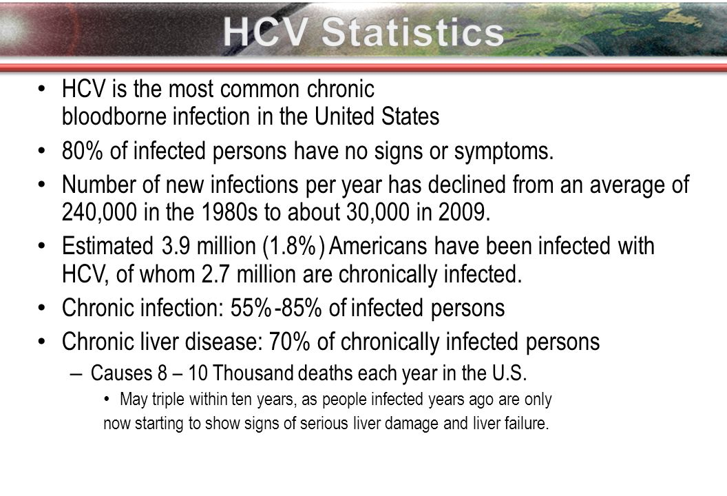 HCV is the most common chronic bloodborne infection in the United States 80% of infected persons have no signs or symptoms.