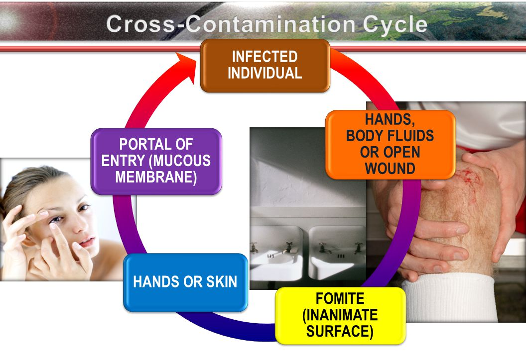 INFECTED INDIVIDUAL HANDS, BODY FLUIDS OR OPEN WOUND FOMITE (INANIMATE SURFACE) HANDS OR SKIN PORTAL OF ENTRY (MUCOUS MEMBRANE)