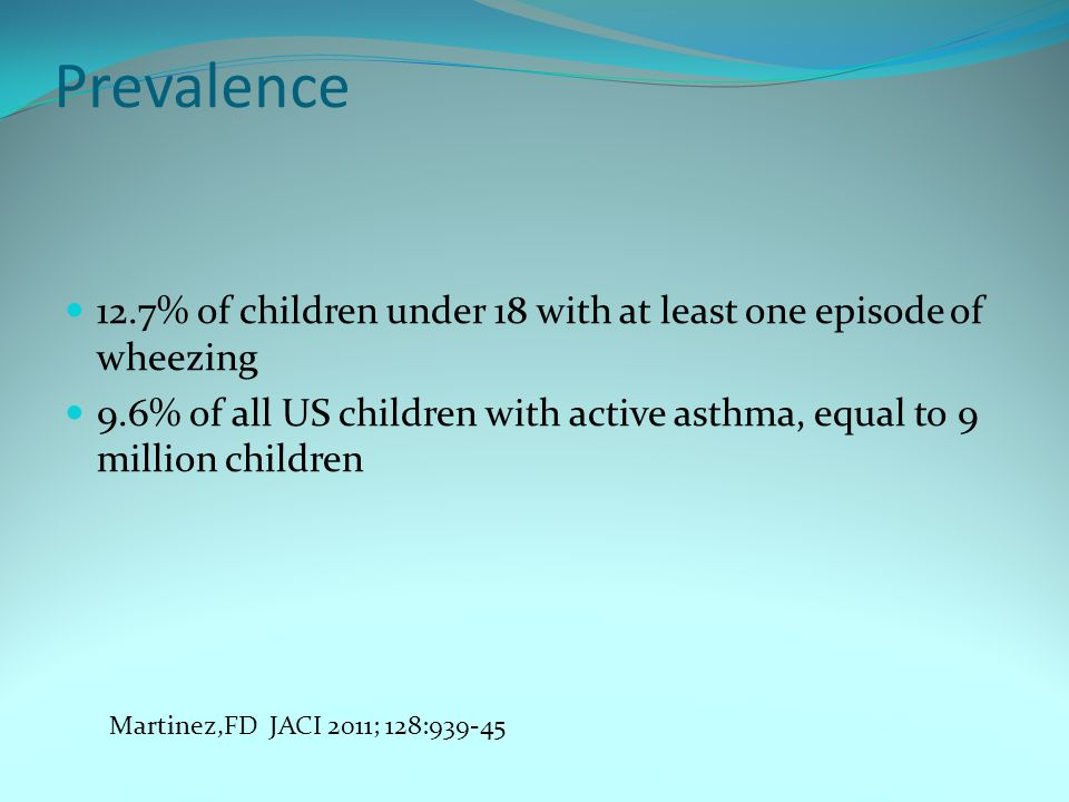 Prevalence 12.7% of children under 18 with at least one episode of wheezing 9.6% of all US children with active asthma, equal to 9 million children Ma