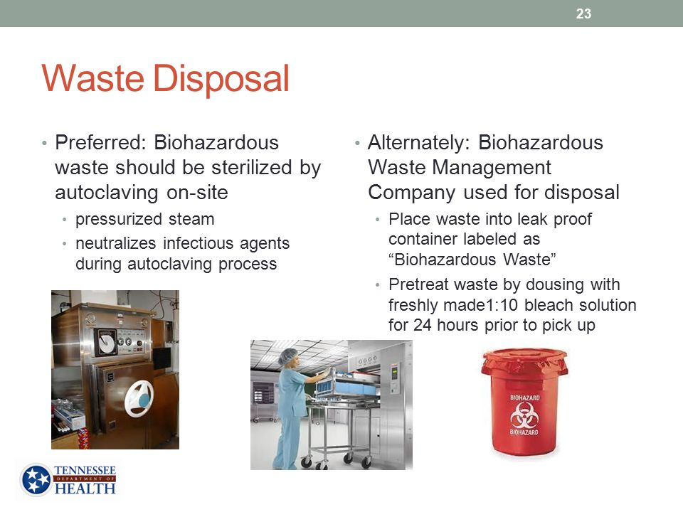 Waste Disposal Preferred: Biohazardous waste should be sterilized by autoclaving on-site pressurized steam neutralizes infectious agents during autoclaving process Alternately: Biohazardous Waste Management Company used for disposal Place waste into leak proof container labeled as Biohazardous Waste Pretreat waste by dousing with freshly made1:10 bleach solution for 24 hours prior to pick up 23