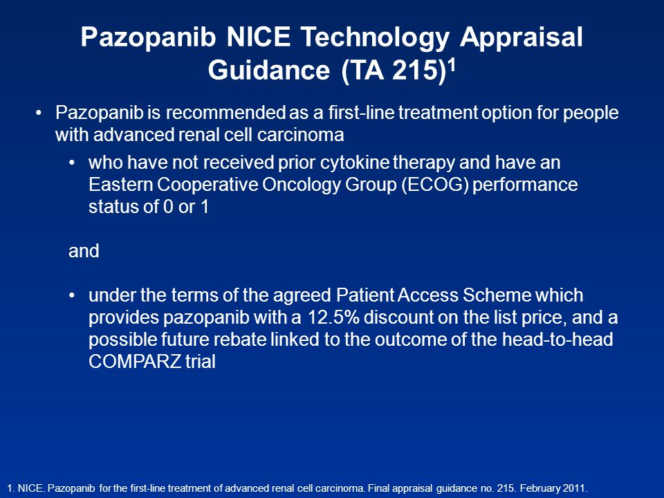 Pazopanib NICE Technology Appraisal Guidance (TA 215) 1 1. NICE. Pazopanib for the first-line treatment of advanced renal cell carcinoma. Final apprai
