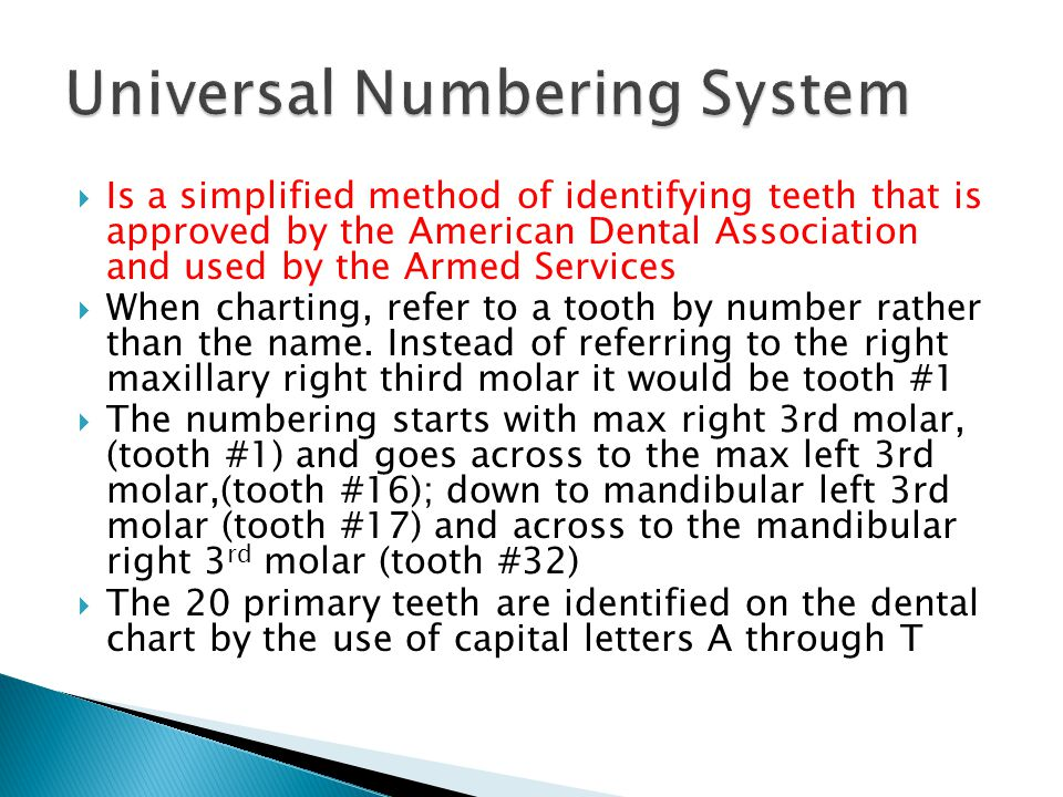  Is a simplified method of identifying teeth that is approved by the American Dental Association and used by the Armed Services  When charting, refe