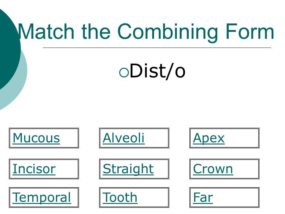 Match the Combining Form  Enamel labi/o mandibul/a maxill/ofluor/o gloss/oincis/o bucc/omes/o amel/o