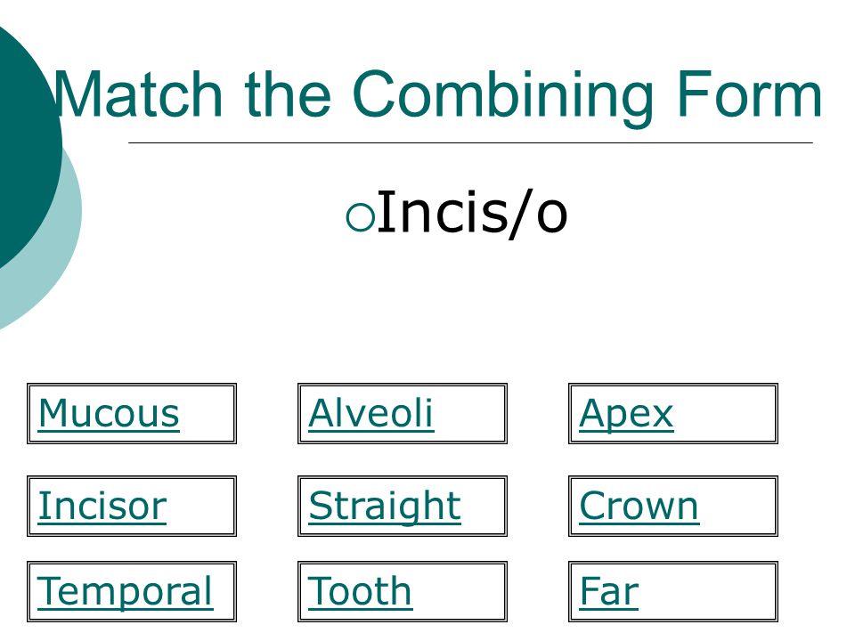 Match the Combining Form  Axis (midline) labi/o mandibul/a maxill/ofluor/o gloss/oincis/o axi/omes/o ename/o
