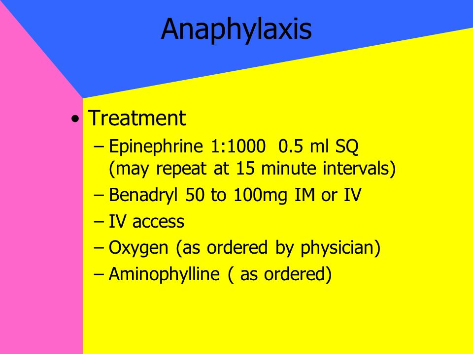 Anaphylaxis Treatment –Epinephrine 1:1000 0.5 ml SQ (may repeat at 15 minute intervals) –Benadryl 50 to 100mg IM or IV –IV access –Oxygen (as ordered by physician) –Aminophylline ( as ordered)