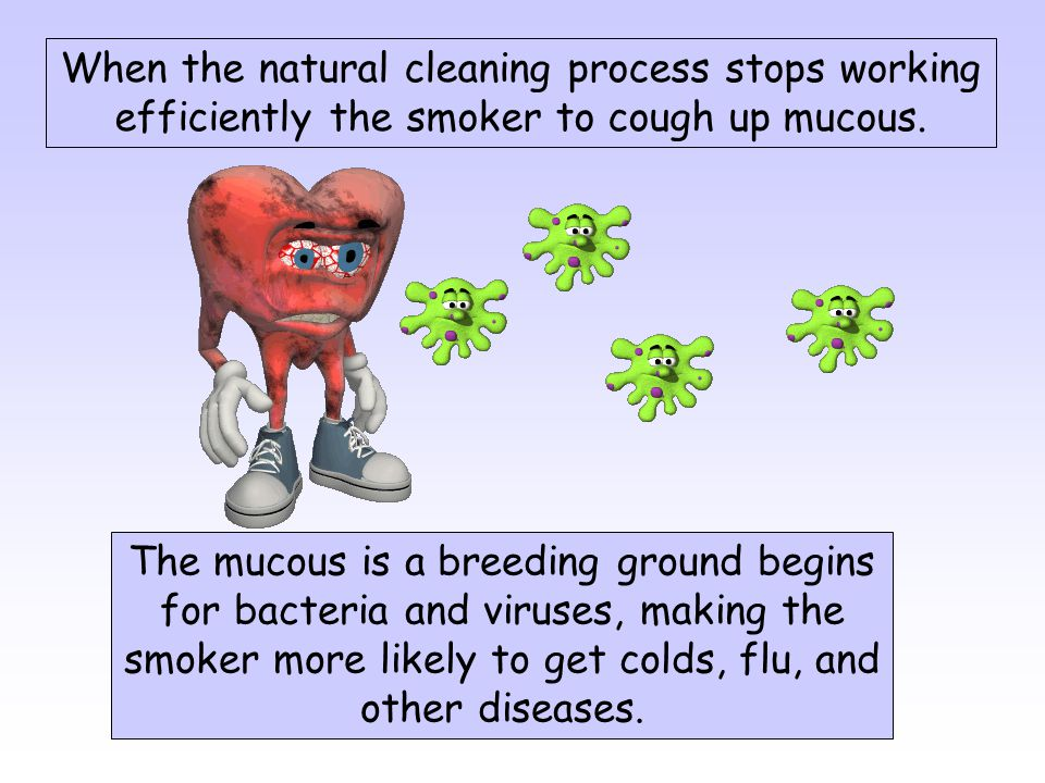 When the natural cleaning process stops working efficiently the smoker to cough up mucous.