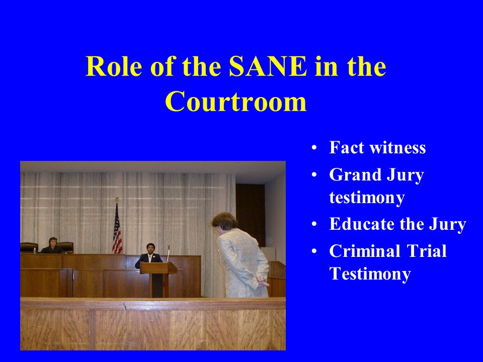 Role of the SANE in the Courtroom Fact witness Grand Jury testimony Educate the Jury Criminal Trial Testimony
