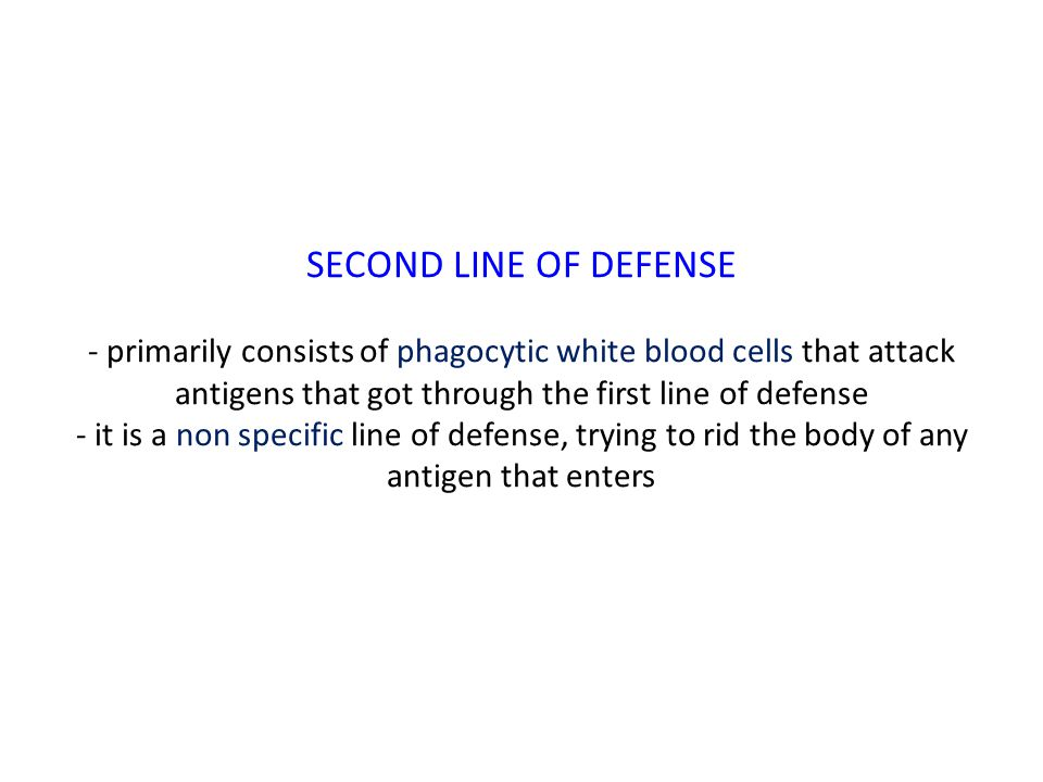 SECOND LINE OF DEFENSE - primarily consists of phagocytic white blood cells that attack antigens that got through the first line of defense - it is a