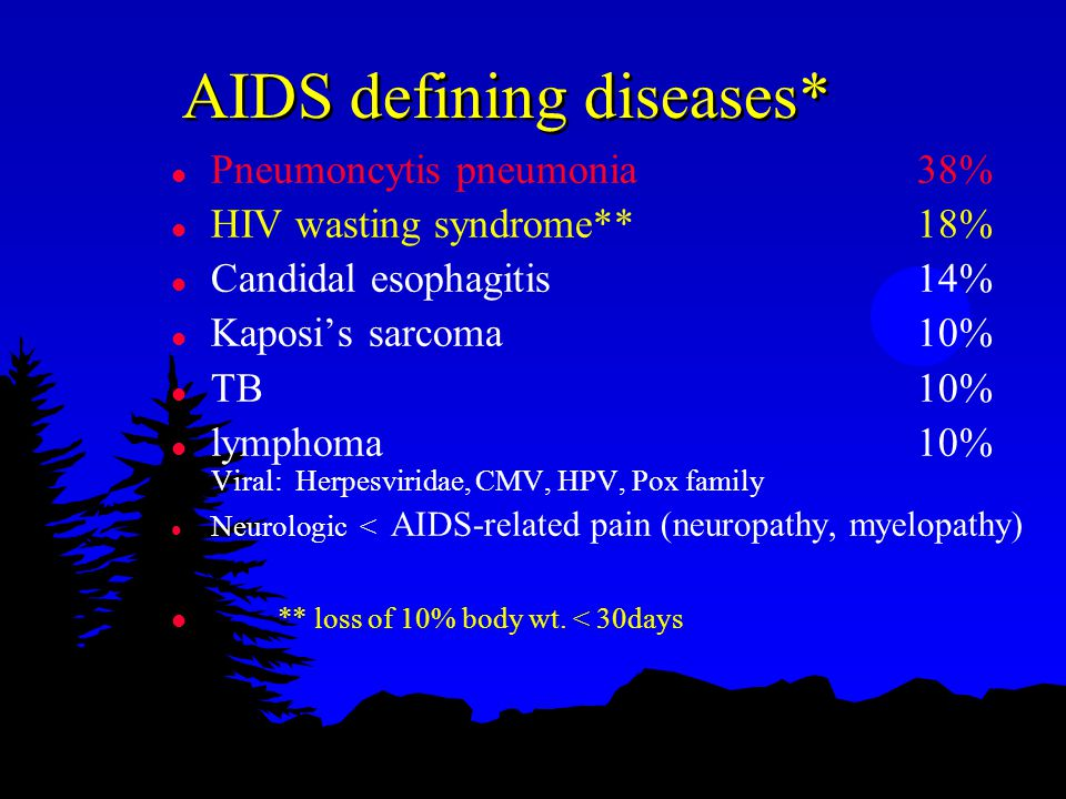 AIDS defining diseases* l Pneumoncytis pneumonia38% l HIV wasting syndrome**18% l Candidal esophagitis14% l Kaposi's sarcoma10% l TB10% l lymphoma10% Viral: Herpesviridae, CMV, HPV, Pox family l Neurologic < AIDS-related pain (neuropathy, myelopathy) l ** loss of 10% body wt.