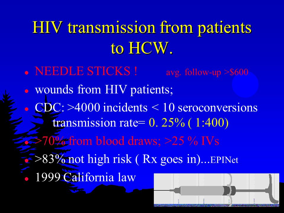 HIV transmission from patients to HCW. l NEEDLE STICKS .