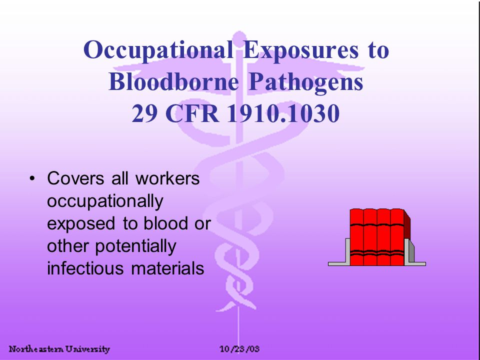 Occupational Exposures to Bloodborne Pathogens 29 CFR 1910.1030 Covers all workers occupationally exposed to blood or other potentially infectious mat