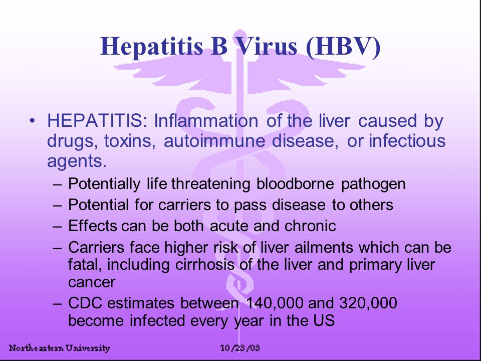 Hepatitis B Virus (HBV) HEPATITIS: Inflammation of the liver caused by drugs, toxins, autoimmune disease, or infectious agents. –Potentially life thre