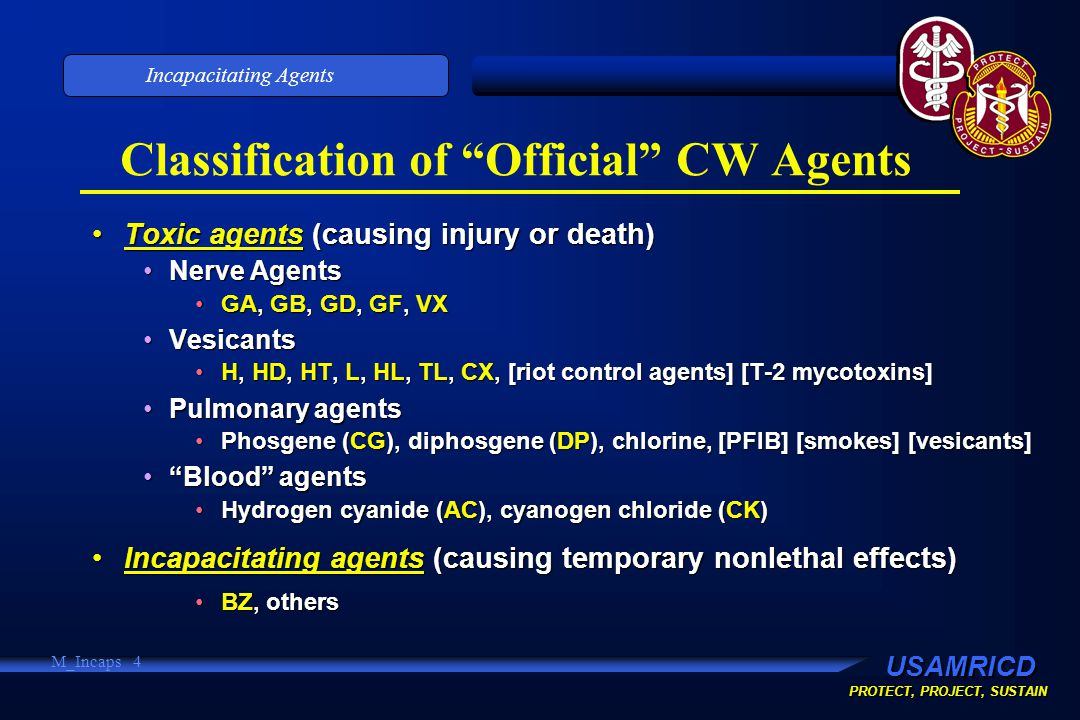 USAMRICD PROTECT, PROJECT, SUSTAIN Incapacitating Agents M_Incaps 4 Classification of Official CW Agents Toxic agents (causing injury or death)Toxic agents (causing injury or death) Nerve AgentsNerve Agents GA, GB, GD, GF, VXGA, GB, GD, GF, VX VesicantsVesicants H, HD, HT, L, HL, TL, CX, [riot control agents] [T-2 mycotoxins]H, HD, HT, L, HL, TL, CX, [riot control agents] [T-2 mycotoxins] Pulmonary agentsPulmonary agents Phosgene (CG), diphosgene (DP), chlorine, [PFIB] [smokes] [vesicants]Phosgene (CG), diphosgene (DP), chlorine, [PFIB] [smokes] [vesicants] Blood agents Blood agents Hydrogen cyanide (AC), cyanogen chloride (CK)Hydrogen cyanide (AC), cyanogen chloride (CK) Incapacitating agents (causing temporary nonlethal effects)Incapacitating agents (causing temporary nonlethal effects) BZ, othersBZ, others