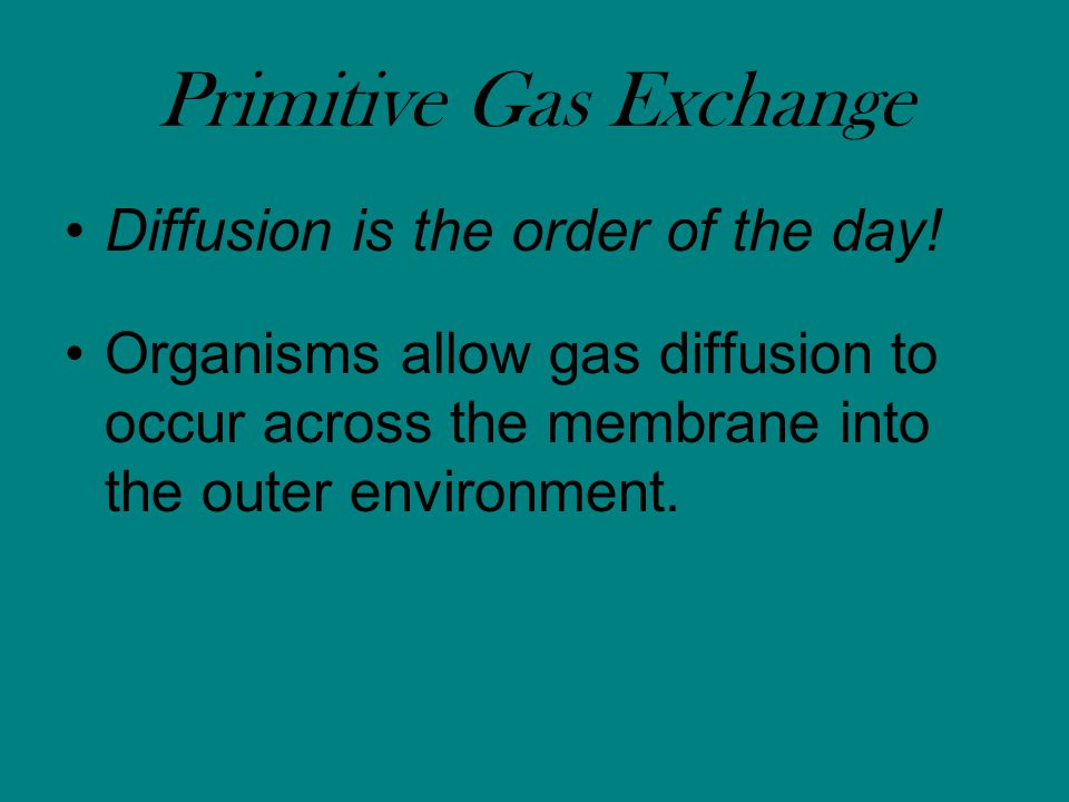 Primitive Gas Exchange Diffusion is the order of the day.