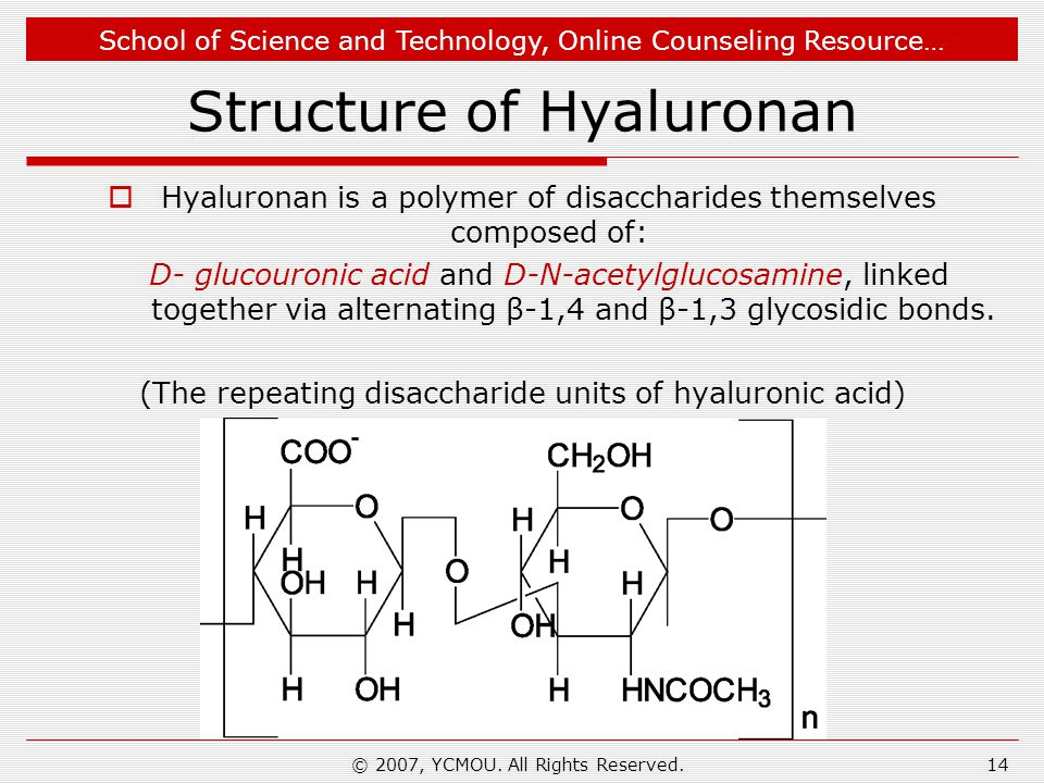 School of Science and Technology, Online Counseling Resource… Structure of Hyaluronan  Hyaluronan is a polymer of disaccharides themselves composed of: D- glucouronic acid and D-N-acetylglucosamine, linked together via alternating β-1,4 and β-1,3 glycosidic bonds.