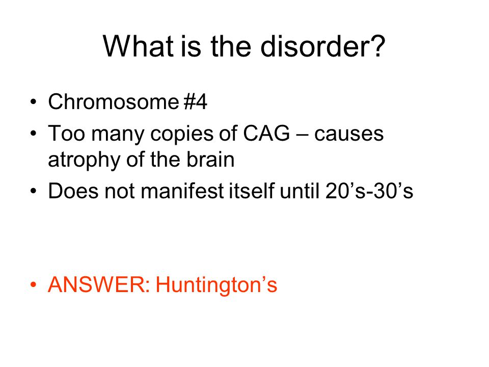 What is the disorder.