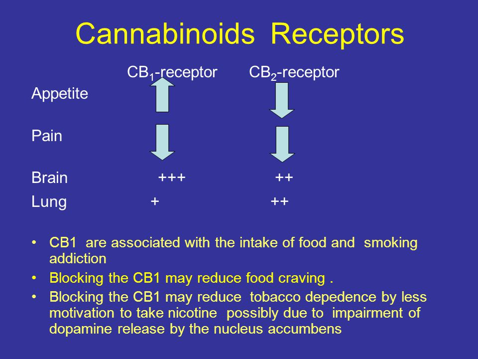 Cannabinoids Receptors CB 1 -receptor CB 2 -receptor Appetite Pain Brain +++ ++ Lung + ++ CB1 are associated with the intake of food and smoking addiction Blocking the CB1 may reduce food craving.