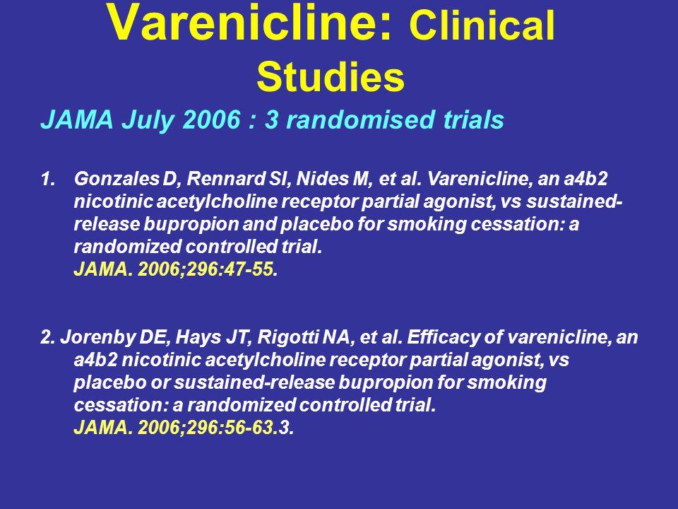 Varenicline: Clinical Studies JAMA July 2006 : 3 randomised trials 1.Gonzales D, Rennard SI, Nides M, et al.