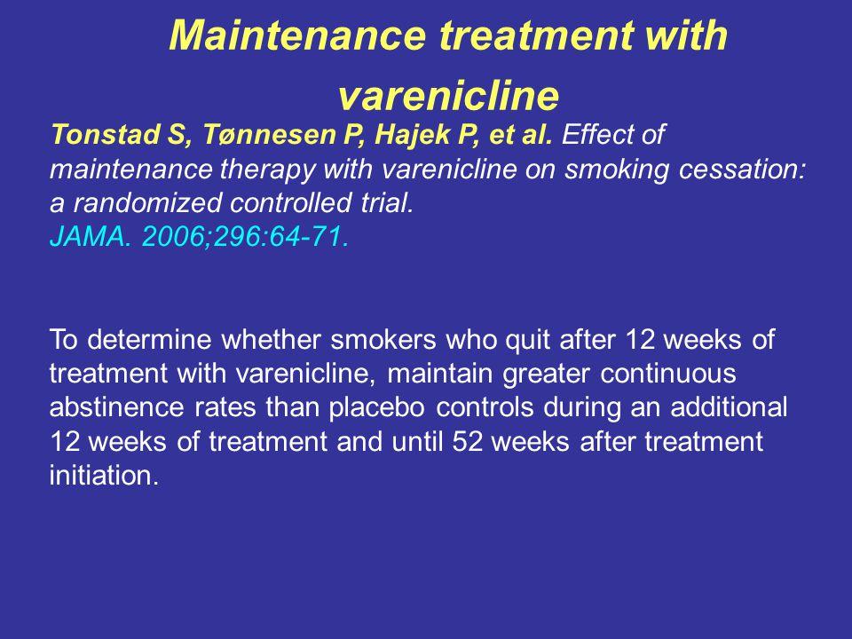Maintenance treatment with varenicline Tonstad S, Tønnesen P, Hajek P, et al.