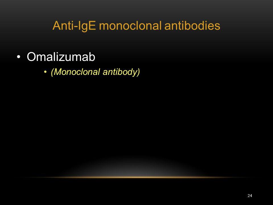 24 Anti-IgE monoclonal antibodies Omalizumab (Monoclonal antibody)