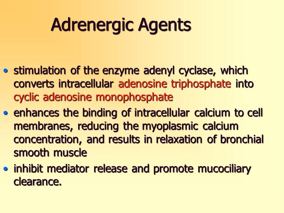 Adrenergic Agents stimulation of the enzyme adenyl cyclase, which converts intracellular adenosine triphosphate into cyclic adenosine monophosphatesti