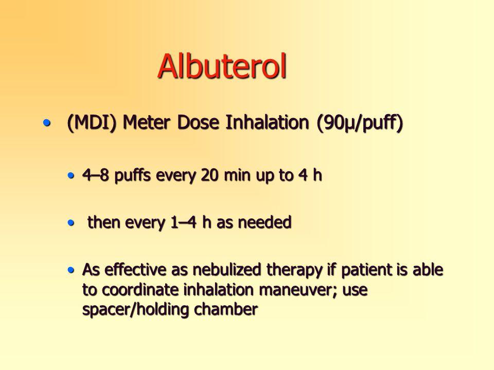 Albuterol (MDI) Meter Dose Inhalation (90μ/puff) (MDI) Meter Dose Inhalation (90μ/puff) 4–8 puffs every 20 min up to 4 h4–8 puffs every 20 min up to 4