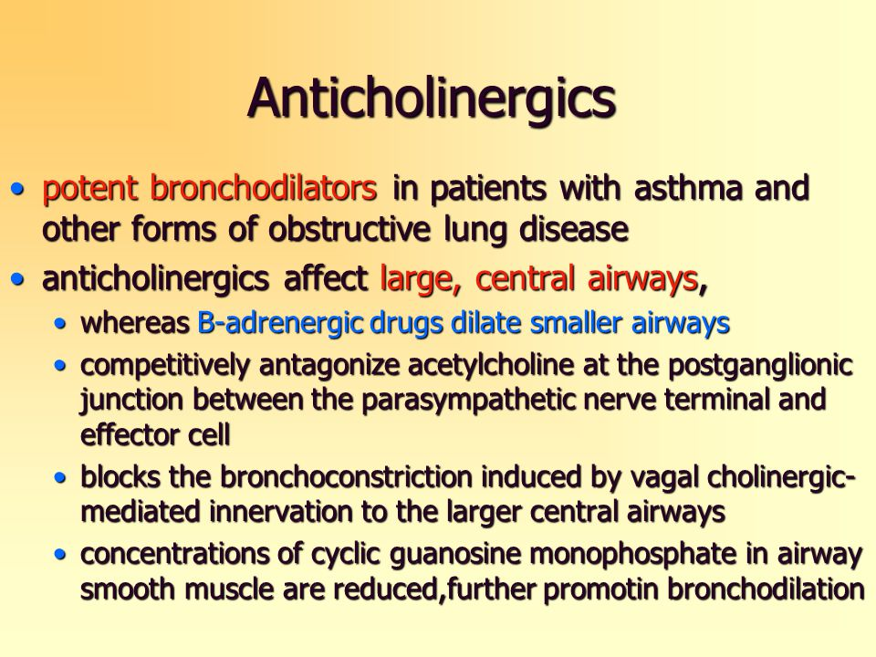 Anticholinergics potent bronchodilators in patients with asthma and other forms of obstructive lung diseasepotent bronchodilators in patients with ast