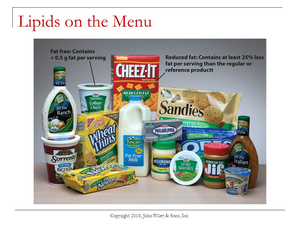 Copyright 2010, John Wiley & Sons, Inc. Lipids on the Menu