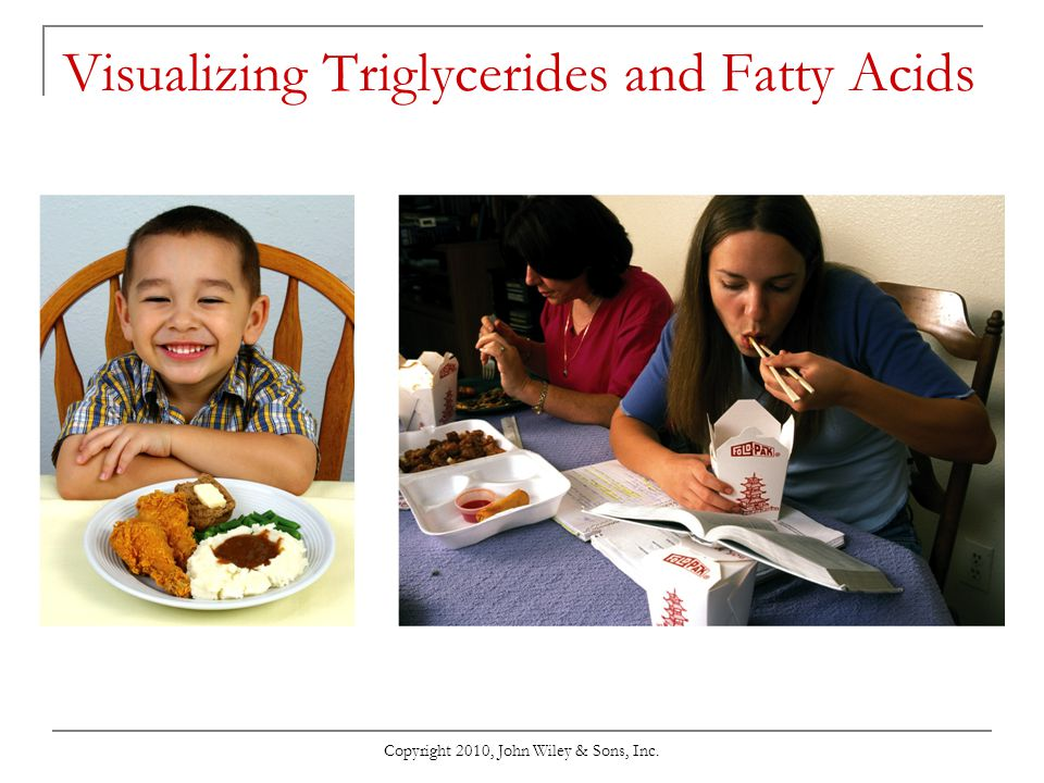 Copyright 2010, John Wiley & Sons, Inc. Visualizing Triglycerides and Fatty Acids