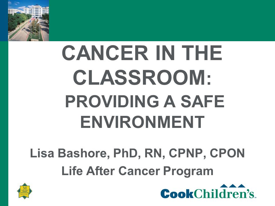 CANCER IN THE CLASSROOM : PROVIDING A SAFE ENVIRONMENT Lisa Bashore, PhD, RN, CPNP, CPON Life After Cancer Program