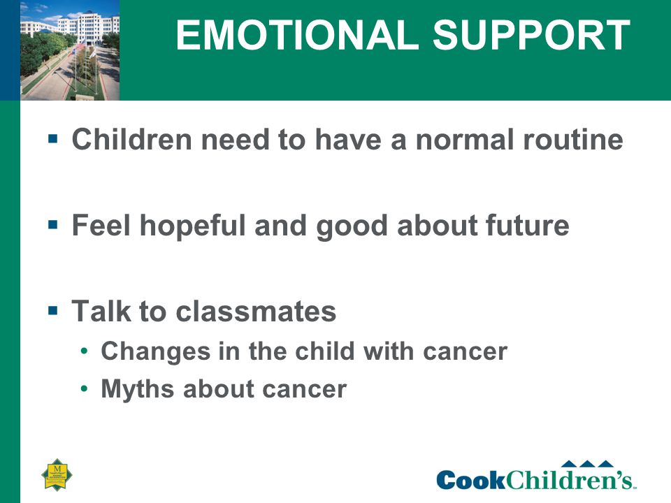 EMOTIONAL SUPPORT  Children need to have a normal routine  Feel hopeful and good about future  Talk to classmates Changes in the child with cancer Myths about cancer