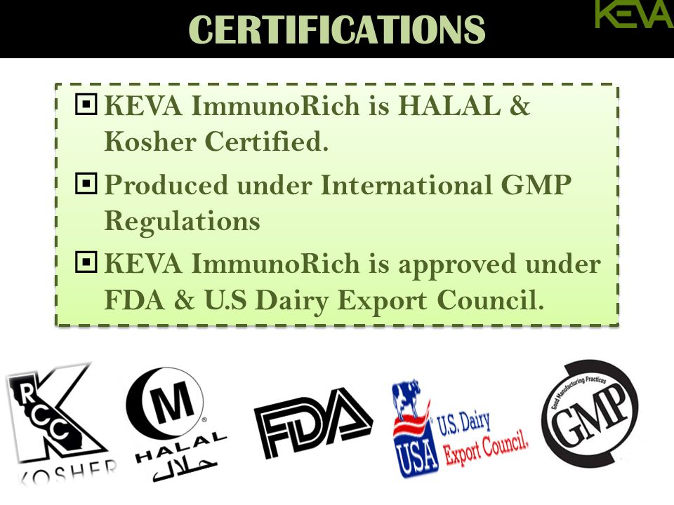 Awards & Testing  KEVA ImmunoRich is HALAL & Kosher Certified.  Produced under International GMP Regulations  KEVA ImmunoRich is approved under FDA