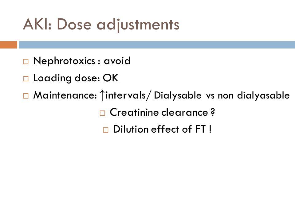 AKI: Dose adjustments  Nephrotoxics : avoid  Loading dose: OK  Maintenance: ↑ intervals/ Dialysable vs non dialyasable  Creatinine clearance .