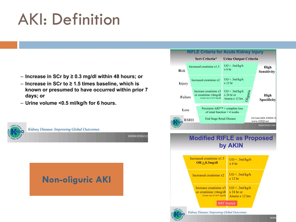 AKI: Diagnosis  Comprehensive history,  Observation chart,  Clinical examination, and  A review of recent investigations and drug therapies R/O obstruction Consider pre- renal Think of renal