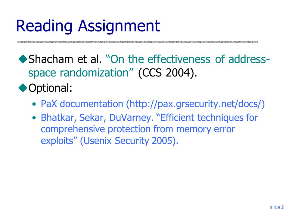 slide 2 Reading Assignment uShacham et al.