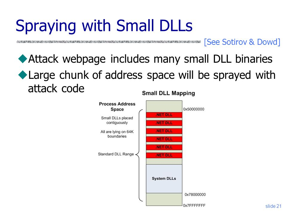 Spraying with Small DLLs uAttack webpage includes many small DLL binaries uLarge chunk of address space will be sprayed with attack code slide 21 [See Sotirov & Dowd]
