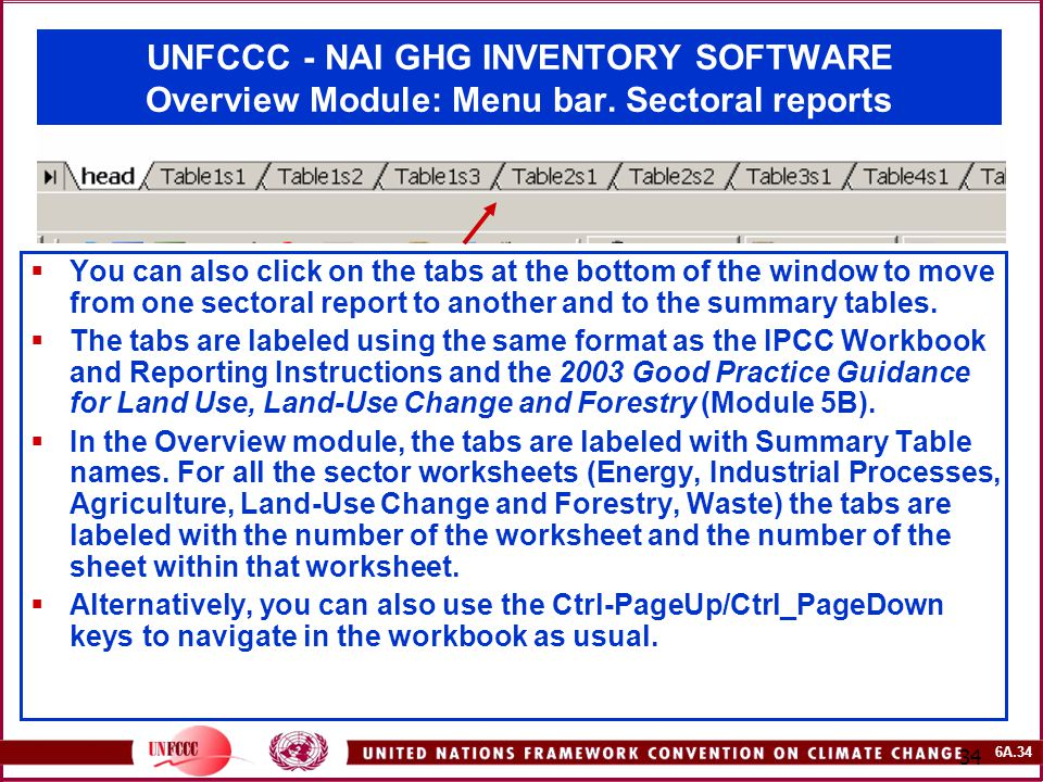 6A.34 34 UNFCCC - NAI GHG INVENTORY SOFTWARE Overview Module: Menu bar. Sectoral reports  You can also click on the tabs at the bottom of the window
