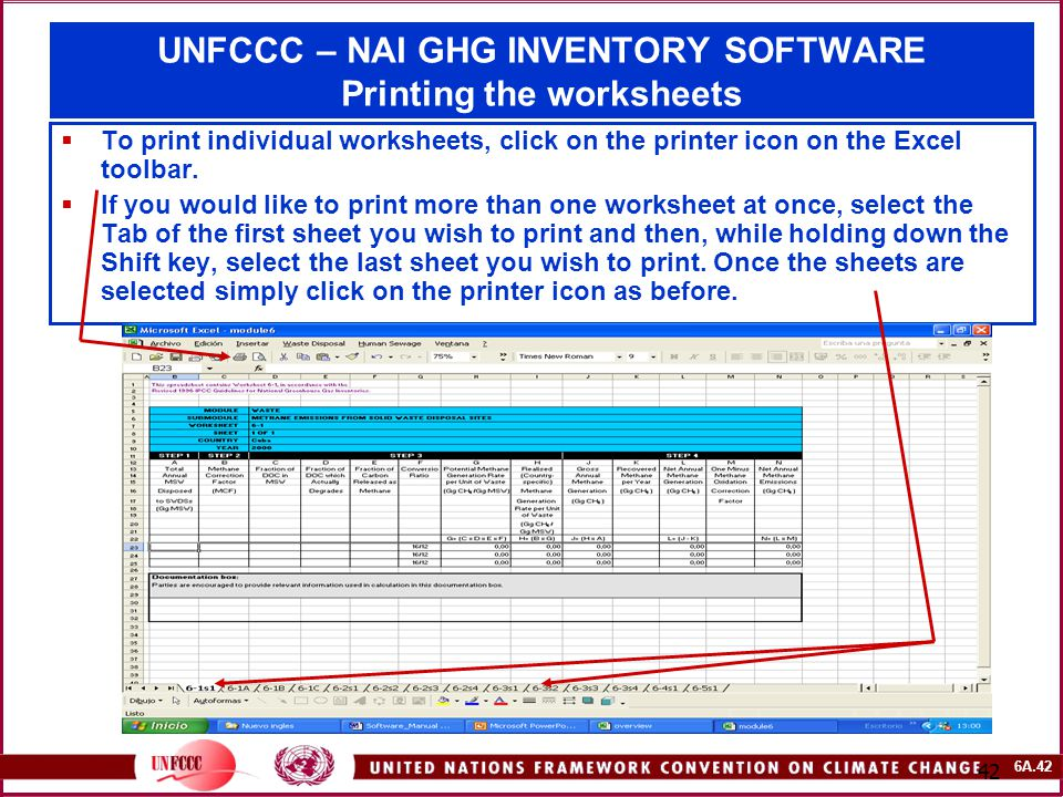6A.42 42 UNFCCC – NAI GHG INVENTORY SOFTWARE Printing the worksheets  To print individual worksheets, click on the printer icon on the Excel toolbar.