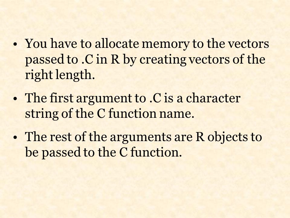 You have to allocate memory to the vectors passed to.C in R by creating vectors of the right length.