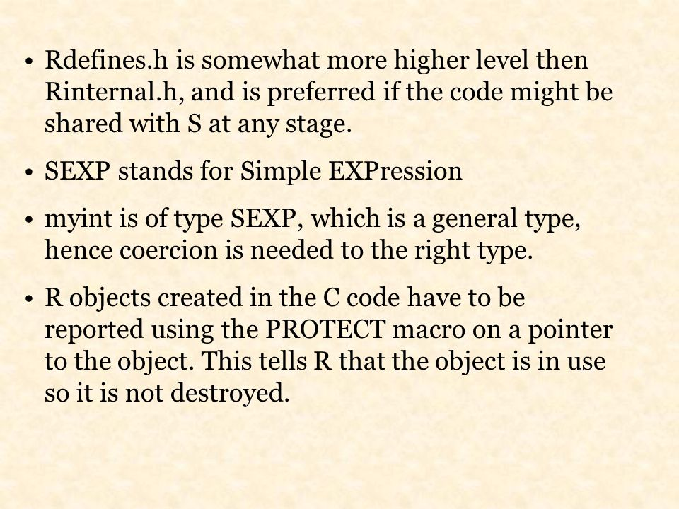 Rdefines.h is somewhat more higher level then Rinternal.h, and is preferred if the code might be shared with S at any stage.