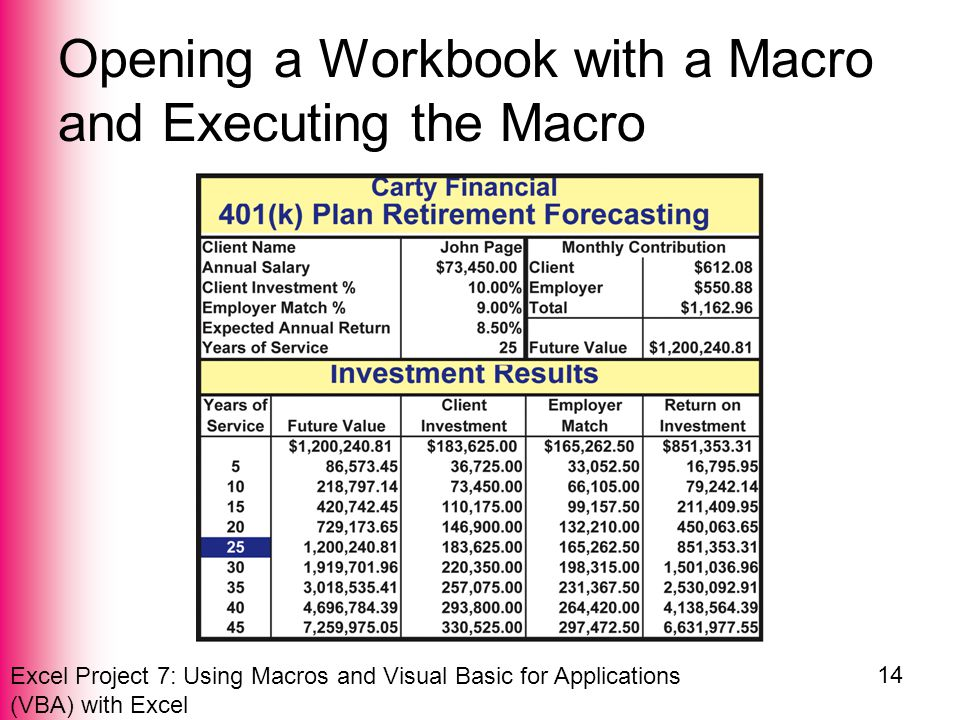Excel Project 7: Using Macros and Visual Basic for Applications (VBA) with Excel 14 Opening a Workbook with a Macro and Executing the Macro