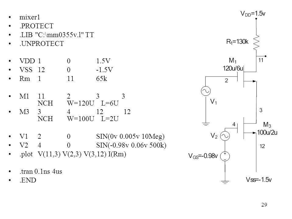29 mixer1.PROTECT.LIB C:\mm0355v.l TT.UNPROTECT VDD101.5V VSS120-1.5V Rm11165k M11123 3 NCHW=120U L=6U M33412 12 NCHW=100U L=2U V120SIN(0v 0.005v 10Meg) V240SIN(-0.98v 0.06v 500k).plotV(11,3) V(2,3) V(3,12) I(Rm).tran 0.1ns 4us.END