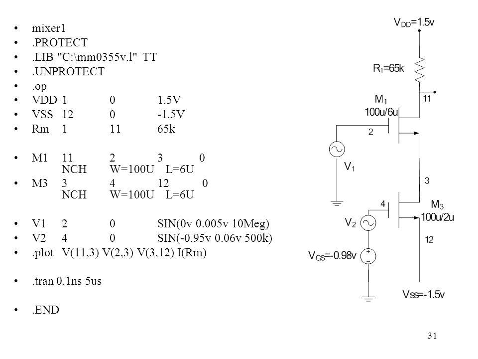 31 mixer1.PROTECT.LIB C:\mm0355v.l TT.UNPROTECT.op VDD101.5V VSS120-1.5V Rm11165k M11123 0 NCHW=100U L=6U M33412 0 NCHW=100U L=6U V120SIN(0v 0.005v 10Meg) V240SIN(-0.95v 0.06v 500k).plotV(11,3) V(2,3) V(3,12) I(Rm).tran 0.1ns 5us.END