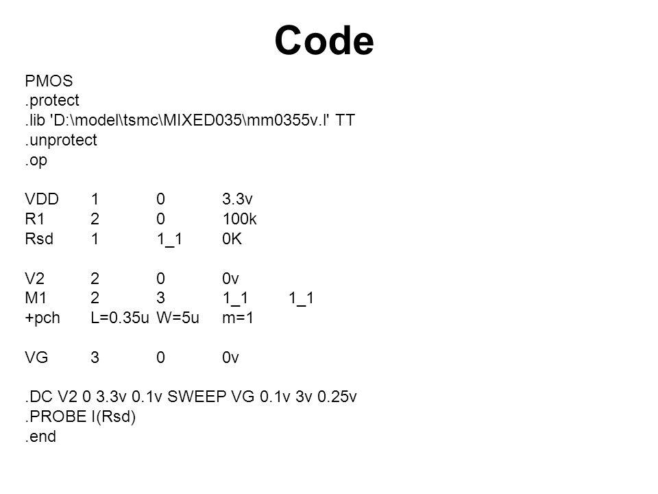 Code PMOS.protect.lib D:\model\tsmc\MIXED035\mm0355v.l TT.unprotect.op VDD103.3v R120100k Rsd11_10K V2 200v M1231_11_1 +pchL=0.35uW=5um=1 VG300v.DC V2 0 3.3v 0.1v SWEEP VG 0.1v 3v 0.25v.PROBE I(Rsd).end