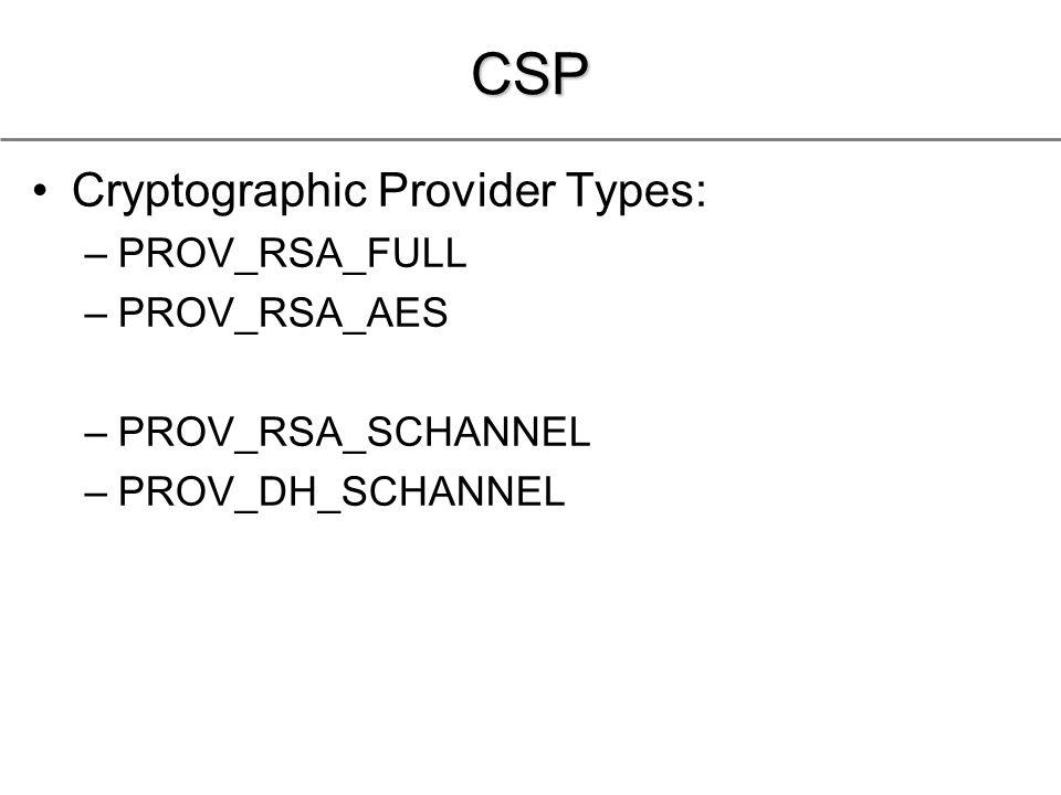 CSP Cryptographic Provider Types: –PROV_RSA_FULL –PROV_RSA_AES –PROV_RSA_SCHANNEL –PROV_DH_SCHANNEL