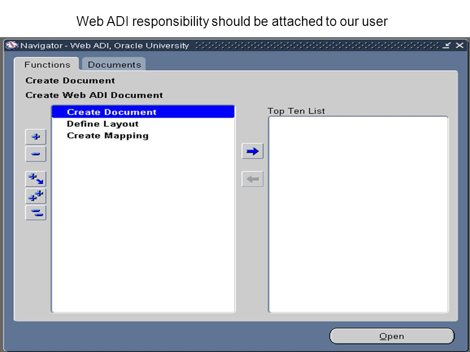 Web ADI responsibility should be attached to our user