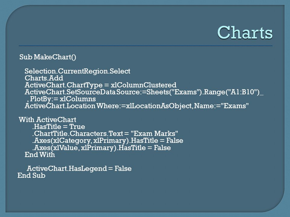 Sub MakeChart() Selection.CurrentRegion.Select Charts.Add ActiveChart.ChartType = xlColumnClustered ActiveChart.SetSourceData Source:=Sheets( Exams ).Range( A1:B10 )_, PlotBy:= xlColumns ActiveChart.Location Where:=xlLocationAsObject, Name:= Exams With ActiveChart.HasTitle = True.ChartTitle.Characters.Text = Exam Marks .Axes(xlCategory, xlPrimary).HasTitle = False.Axes(xlValue, xlPrimary).HasTitle = False End With ActiveChart.HasLegend = False End Sub
