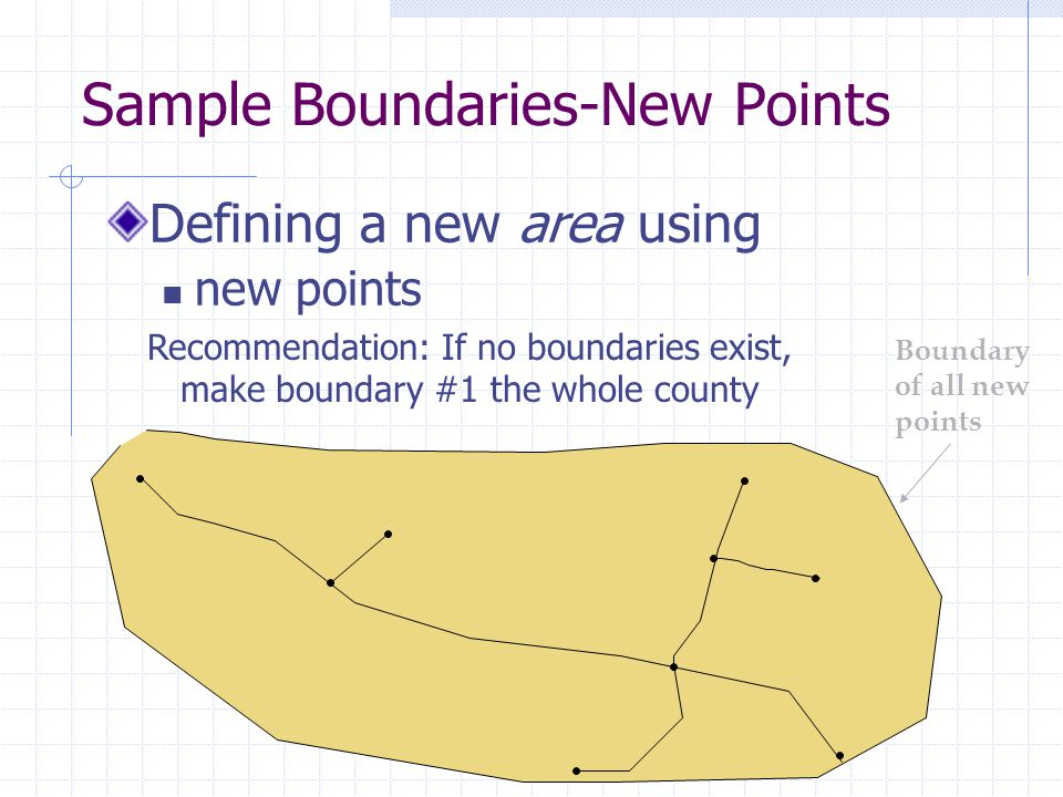 Sample Boundaries-New Points Defining a new area using new points Boundary of all new points Recommendation: If no boundaries exist, make boundary #1 the whole county