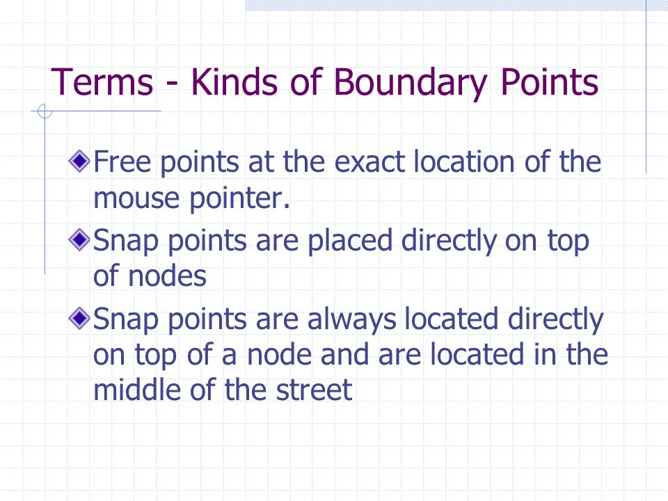 Terms - Kinds of Boundary Points Free points at the exact location of the mouse pointer.