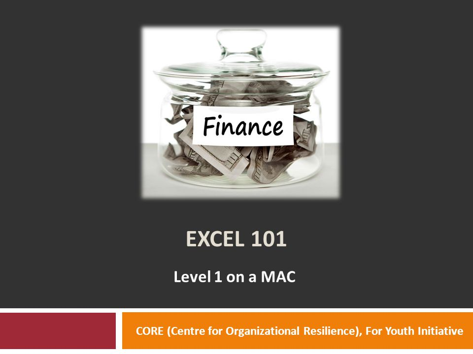 EXCEL 101 Level 1 on a MAC CORE (Centre for Organizational Resilience), For Youth Initiative